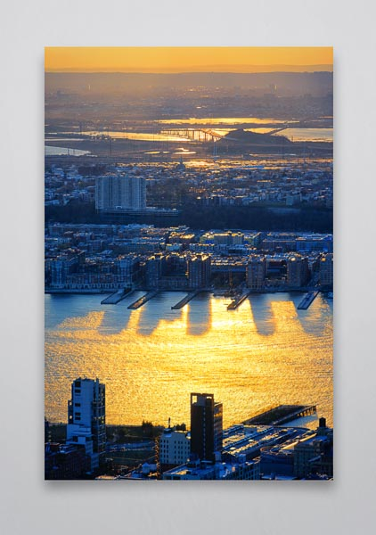 Sunset over the Hudson River Portrait Wall Art Print