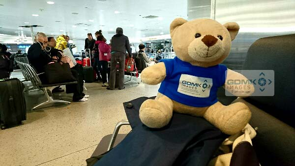 Ted patiently waiting in the Amtrak departure lounge at New York Penn station
