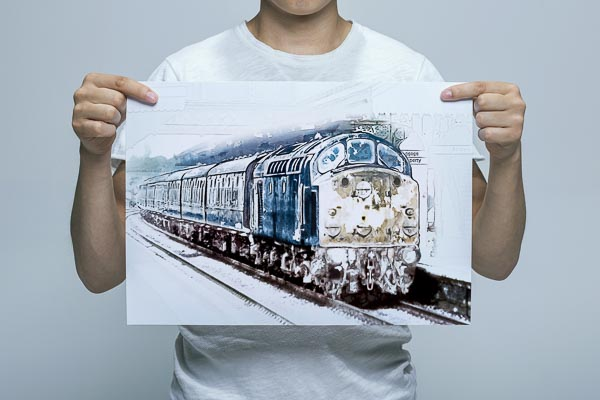 Man Holding Class 40 in the Snow Wall Art Picture