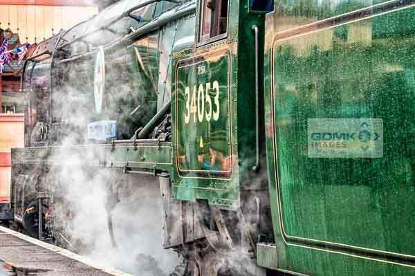 Bulleid light Pacific 4-6-2 steam loco no 34053 Sir Keith Park at Kidderminster railway station