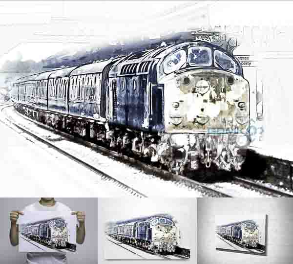 Digital art picture of a British Rail Class 40 loco at speed in the snow