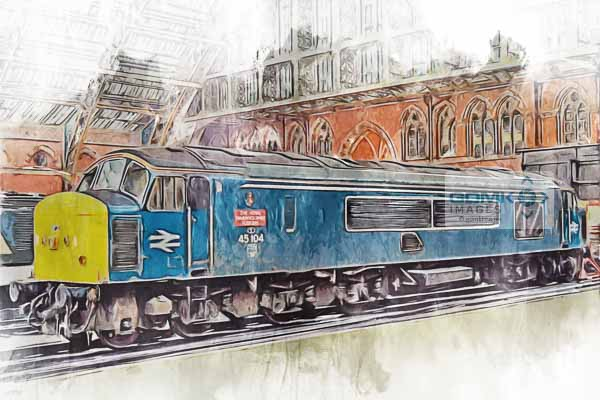 Class 45 loco 45104 The Royal Warwickshire Fusiliers at London St Pancras Railway station