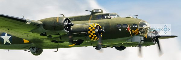 Panoramic picture of B-17 Flying Fortress Sally B