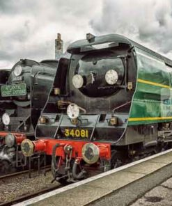 Bulleid Pacifics 34081 and 34053 at Wansford railway station on the Nene Valley Railway