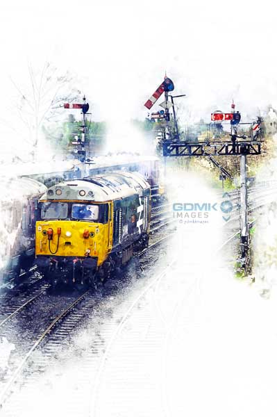 Digital art showing class 50 loco 50049 Defiance in a 1980s setting