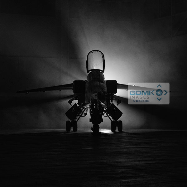 Royal Air Force Jaguar aircraft with dramatic black and white lighting