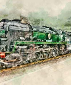 Digital painting of Bulleid Pacific 34053 Sir Keith Park at Wansford station on the Nene Valley Railway