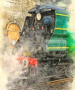 Digital painting of the front of Bulleid Pacific 34081 92 Squadron at Wansford on the Nene Valley Railway