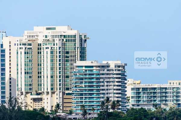 High rise buildings seen from the port at San Juan in Puerto Rico