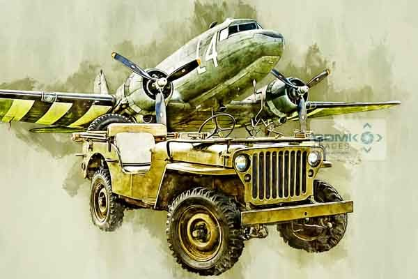 Digital Painting of a Willys Jeep in front of a C-47 Skytrain