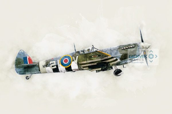 Digital painting of WW2 Spitfire Mk IX MK356 wearing D-Day invasion stripes