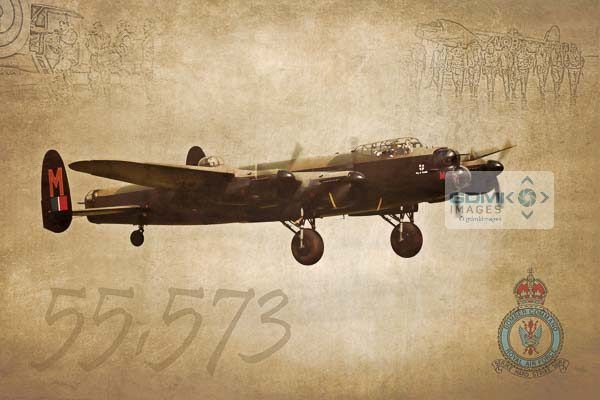 Digital art creation depicting an RAF Lancaster Bomber featuring the Bomber Commandlogo and ghostlike renditions of wartime aircrew