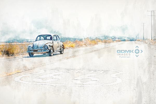 Volkswagon Beetle on Route 66 Digital Art Picture