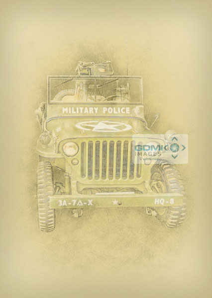Digital art picture of a World War 2 Military Police Willys jeep