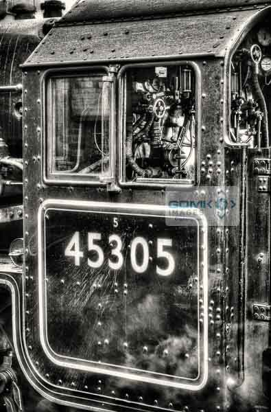 Gritty black and white picture of LMS Black 5 45305 cab