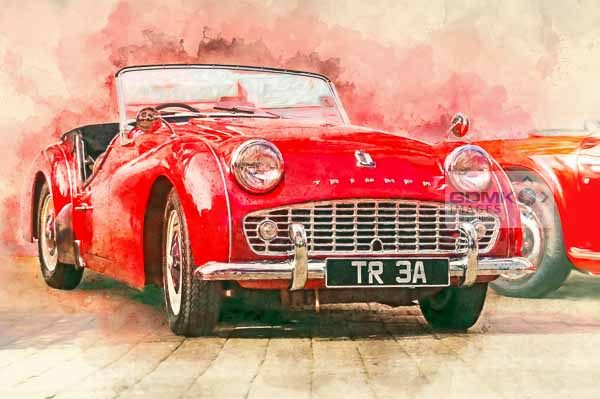 Digital painting of a red Triumph TR3A classic car