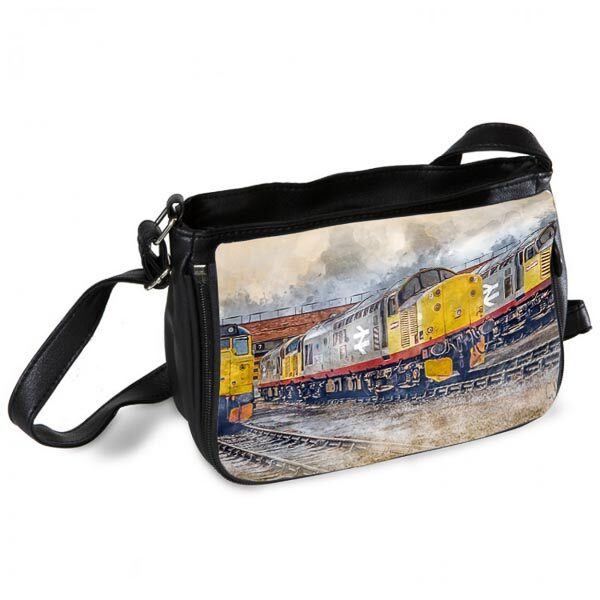 Class 37 on Thornaby Depot Digital Art Messenger Bag