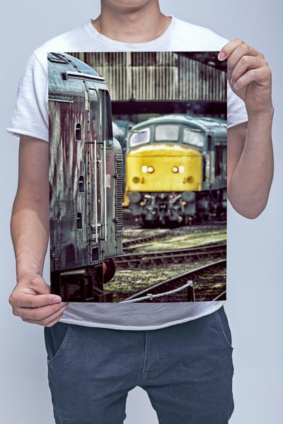Man holding Class 46 and 45 Wall Art Print