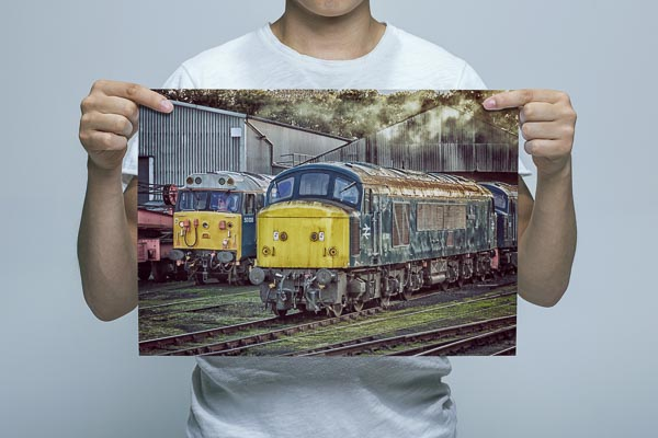 Man Holding 45041 and 50008 Wall Art Print
