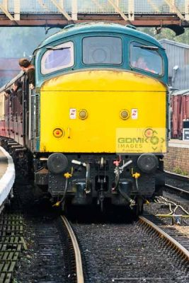 Front of a Class 45 loco at the head of a train at Wansford on the Nene Valley Railway