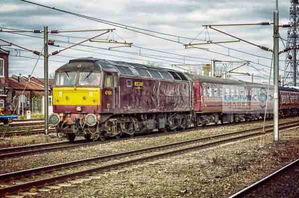 West Coast Railways Class 47 loco with a charter train passing through Doncaster Station