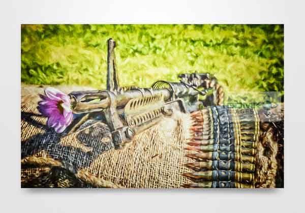 Flower in a gun barrel wall art print
