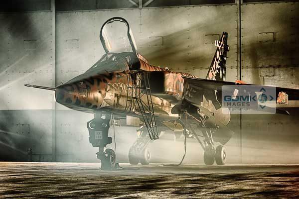 Special colour scheme RAF Jaguar XX119 under dramatic lighting