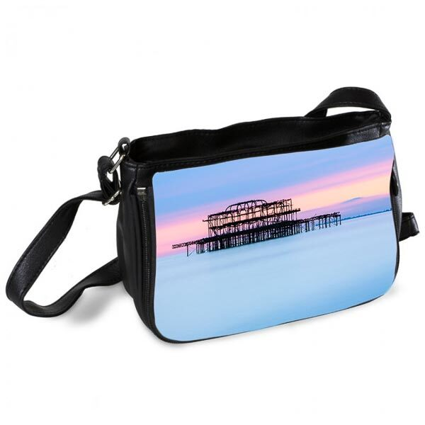 Brighton Pier with Pastel Sunset Messenger Bag