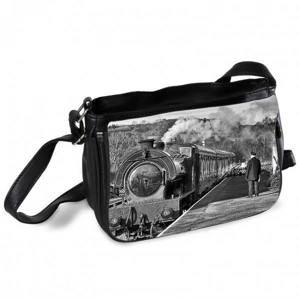 Black and White Steam train at Darly Dale Messenger Bag