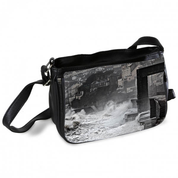Waves crashing against Dawlish Sea Wall Messenger Bag