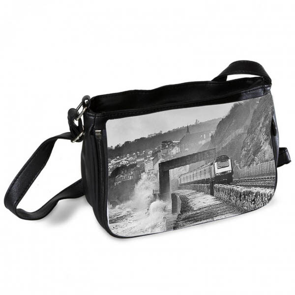 HST on Stormy Dawlish Sea Wall Messenger Bag