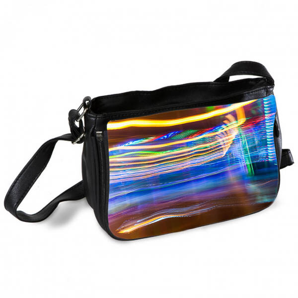 Yellow and Blue Abstract light trails Messenger Bag