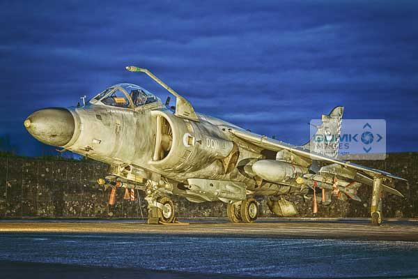Royal Air Force Sea Harrier at dusk