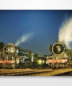 60163 Tornado and 60103 Flying Scotsman in Evening Light Wall Art Print
