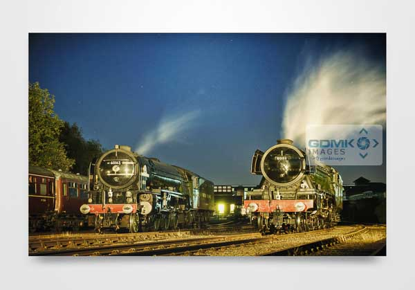 60163 Tornado and 60103 Flying Scotsman in Evening Light Wall Art Print