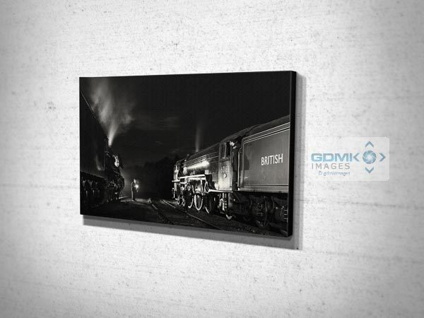 Black and White 60103 Flying Scotsman and 60163 Tornado at Night Canvas Print