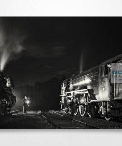 Black and White 60103 Flying Scotsman and 60163 Tornado at Night Wall Art Print
