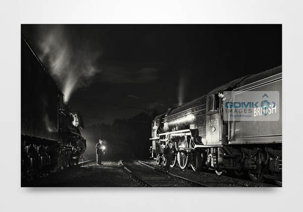 Black and White 60103 Flying Scotsman and 60163 Tornado at Night Wall Art Print