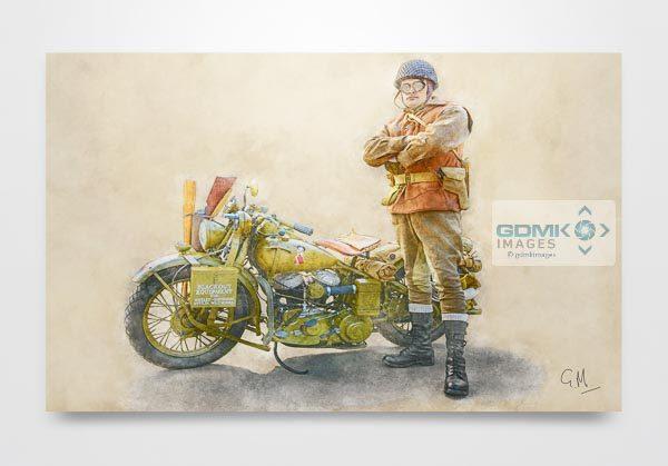 Digital Art Painting of WW2 Harley Davidson WLC and Rider