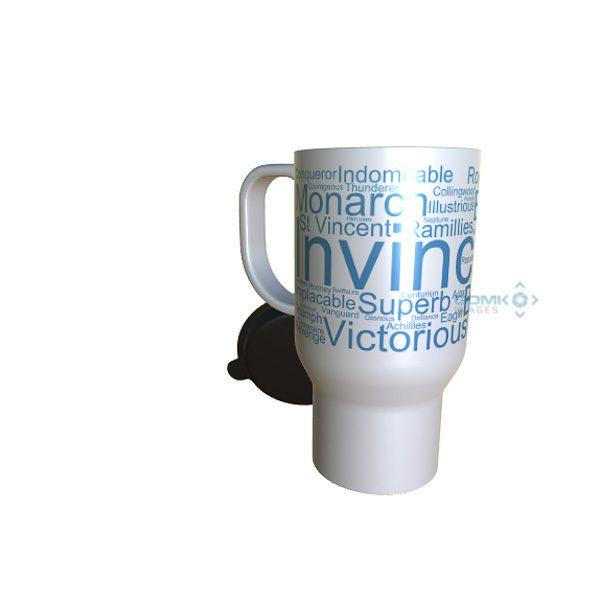 50025 Invinvible Word Art Travel Mug