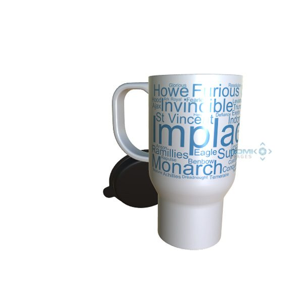 50039 Implacable Word Art travel Mug