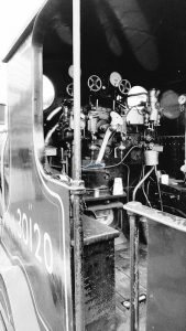Footplate of LSWR T9 30120 in B&W