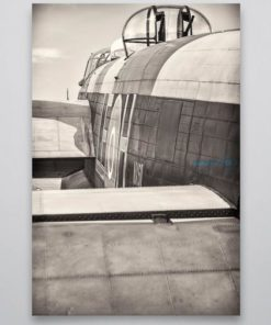 Black and White Lancaster Bomber Rear View 2 Wall Art Print