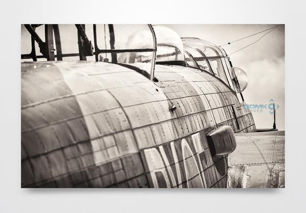 Black and White Lancaster Bomber Rear View Wall Art Print