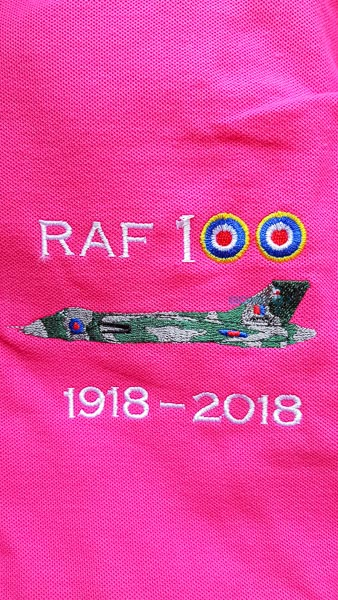 Pink RAF 100 Anniversary embroidered ladies polo shirt featuring an RAF Avro Vulcan