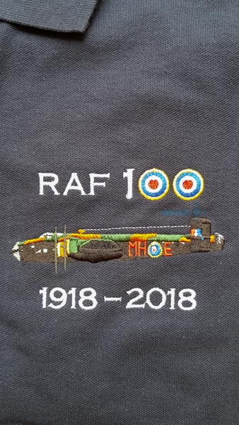 Navy blue RAF 100 Anniversary embroidered polo shirt featuring an RAF Halifax