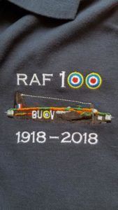 Navy blue RAF 100 Anniversary embroidered polo shirt featuring an RAF Wellington