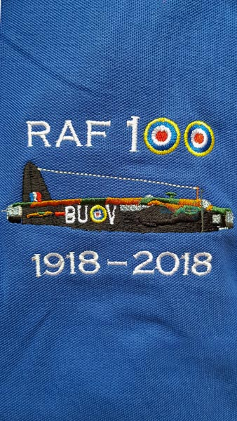 Royal blue RAF 100 Anniversary embroidered polo shirt featuring an RAF Wellington