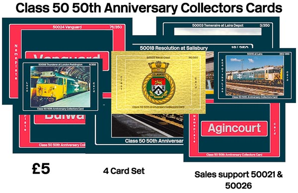 Class 50 50th Anniversary Collectors Cards – 4 Card Pack