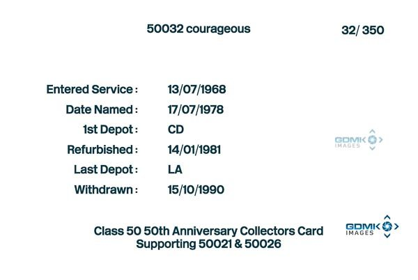 Class 50 50th Anniversary Collectors Card - Card back information on 50032 Courageous